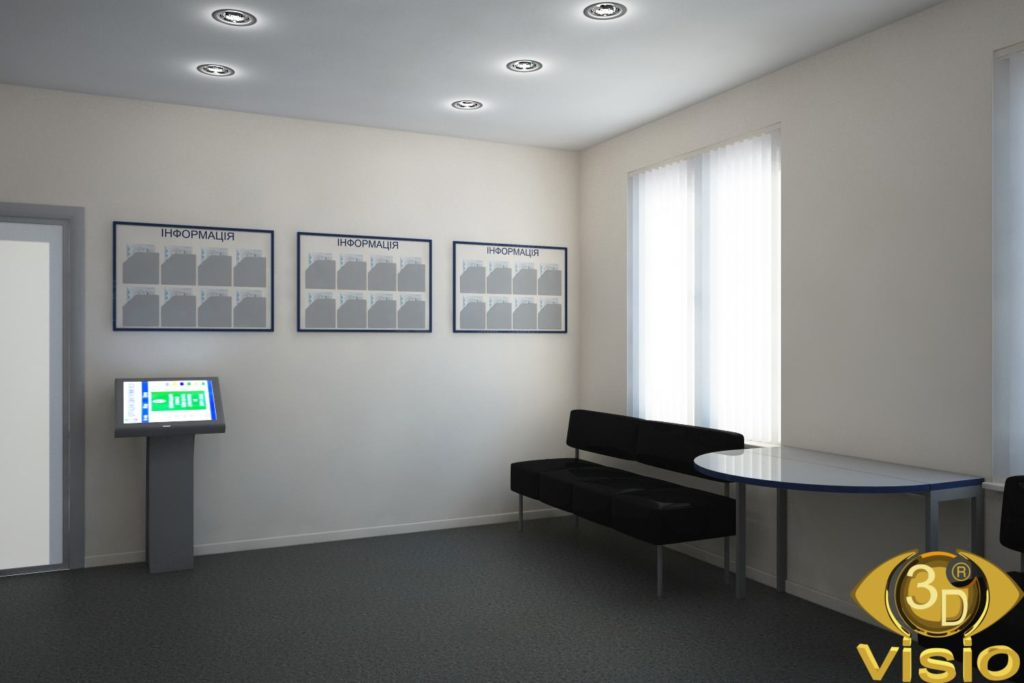 3D Visualization of the waiting room of a government agency