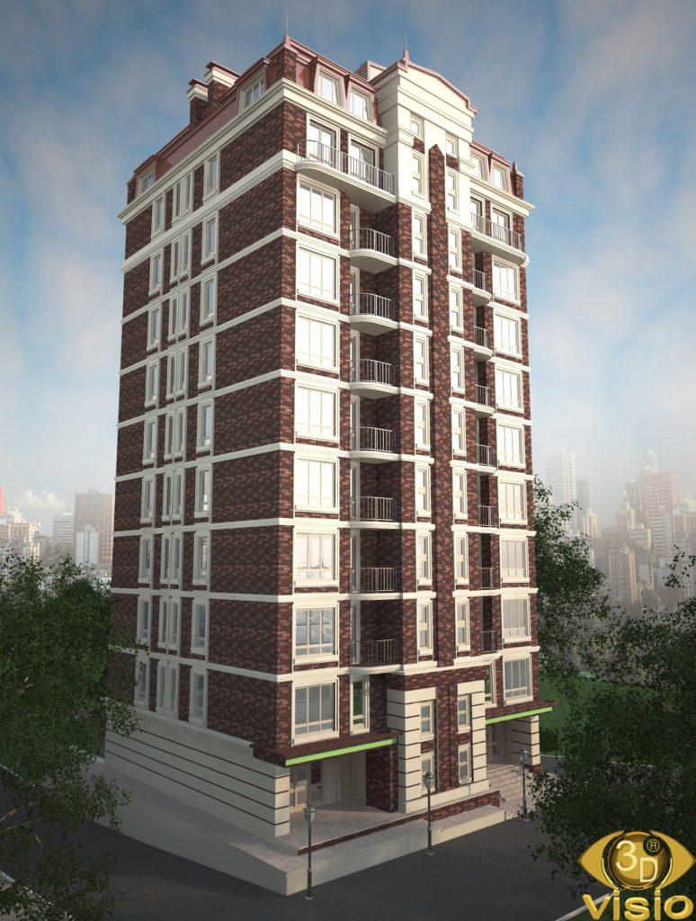 3D визаализация 10 этажного дома